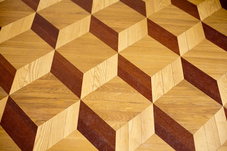 old palace wooden parquet flooring design with volume cubes illusion Stock Photo