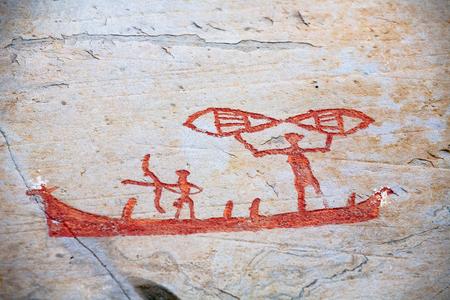 prehistoric rock carving petroglyphs on stone surface closeup, Alta, Norway Фото со стока - 91626944