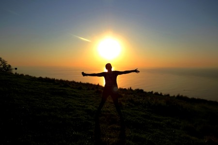 the figure of the person against a sunset pleasure, rejoices photo
