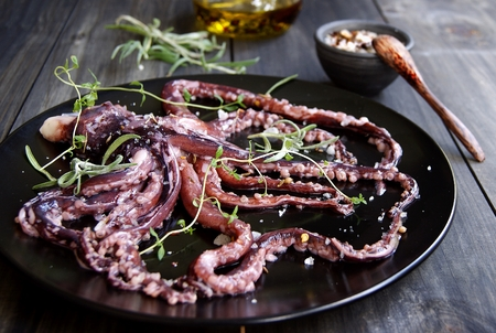 Fresh squid with an asparagus on a black plate photo
