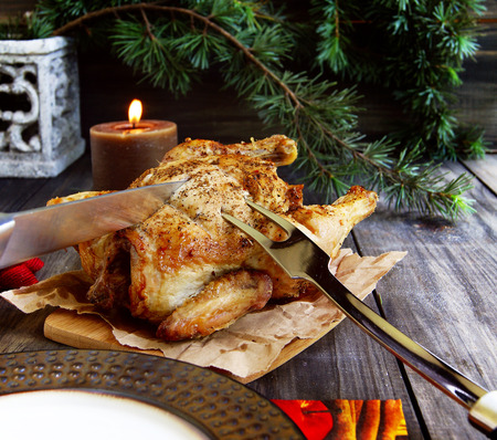 Baked chicken for Christmas Stock Photo
