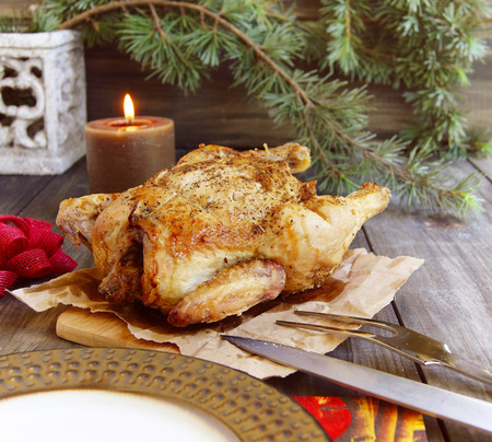 baked chicken: Baked chicken for Christmas Stock Photo