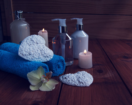 health symbols metaphors: Bathroom and spa, towels, bath, bathroom hearts for Valentine\