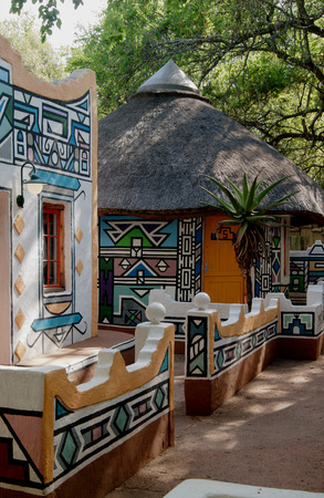 colorful streets of an African village, a national painting walls South Africa Stock Photo