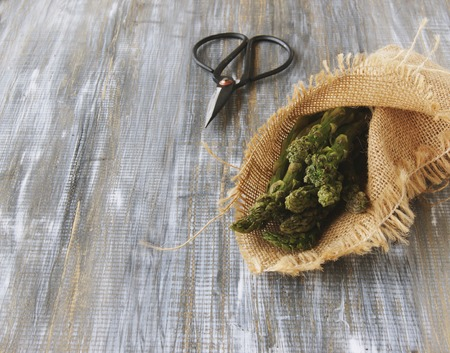 asparagus in a canvas bag with a pair of scissors on a wooden table, selective focus