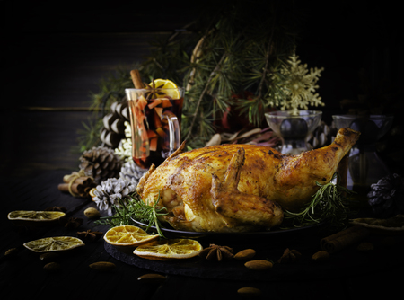 Baked turkey for Christmas or New Year Stock Photo