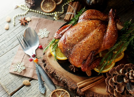 Baked turkey for Christmas Dinner or New Year space for text Stock Photo