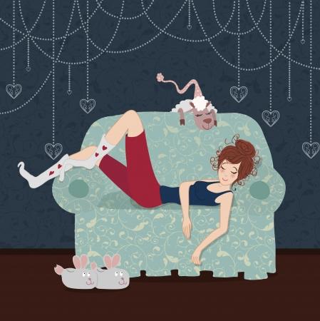 The sleeping girl on a sofa and a sheep near the Christmas tree 向量圖像