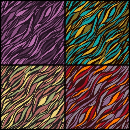 Four seamless patterns with colorful wavy elements