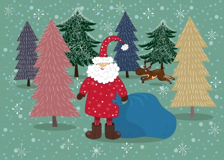 Santa on a winter background with Christmas trees and runnning deer