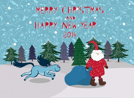 Santa with the running horse on a winter background