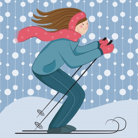 Illustration of a girl skiing