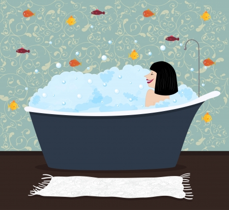 The girl in a bath with colorful fishes on a background Vector