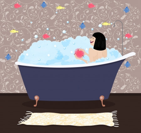 The girl in a bath with colorful fishes on a background Иллюстрация
