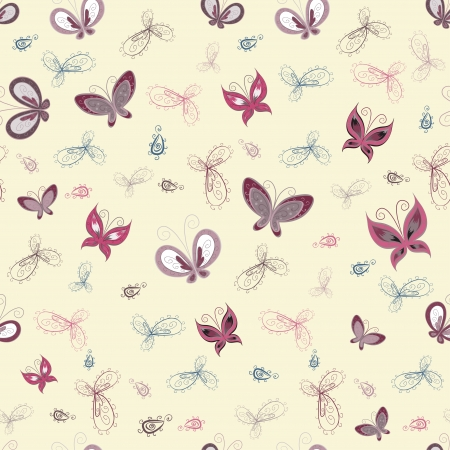The seamless pattern with butterflies