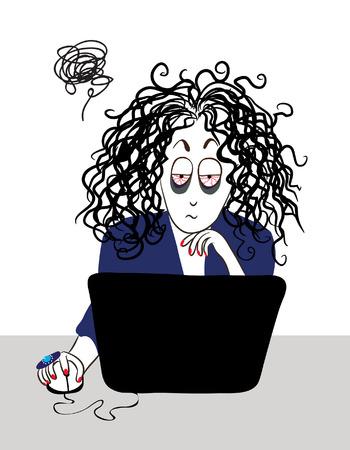 La muchacha cansada con el pelo rizado de trabajo cerca de la computadora