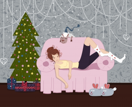 The girl sleeping on a sofa and a sheep near the Christmas tree with presents  And funny slippers