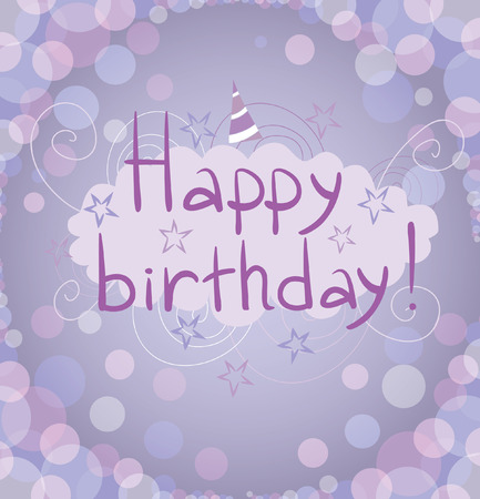 Happy Birthday  The bright glowing greeting card with bokeh effect in cold colors with a cloud on a background