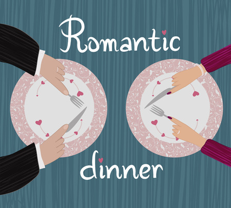 Romantic dinner  Two pairs of hands near the plate on a textured background Иллюстрация