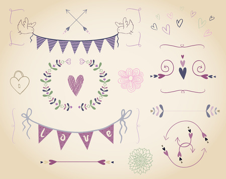 Many cute elements for graphic design (ribbons, birds, hearts, arrows, flowers)