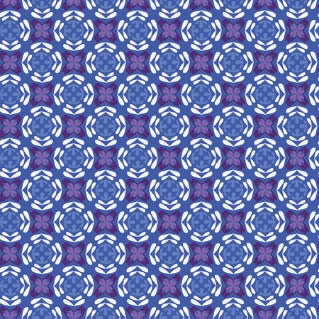 The seamless geometric pattern with leaves in cold colors (violet, purple, blue, white)