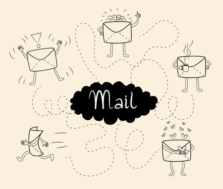 Five different mail icons. Personal mails with various characters.