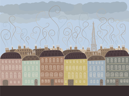 The usual weather in Paris. The colorful illustration of buildings in french style. Houses in pale colors, old style. Vector