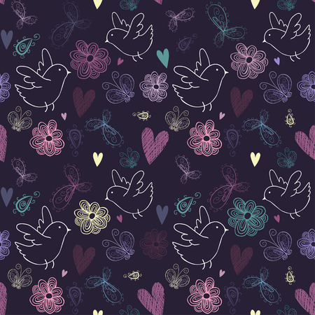 The seamless pattern with birds, flowers, butterflies, hearts and swirls. Иллюстрация