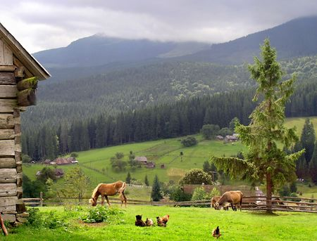 The idil  individual farm in mountain settlement photo
