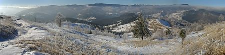 Winter panoram of mountain ridghe (Jaremcha resort outskirts, Ukrainine, Carpathian Mt's) Stock Photo - 608604