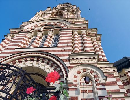 Perspective (from below) image of Church building in Charkiv Sity (Ukraine) Stock Photo - 770609