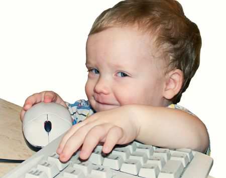 little mischievous boy with keyboard and mouse (isolated on white) Stock Photo - 770499