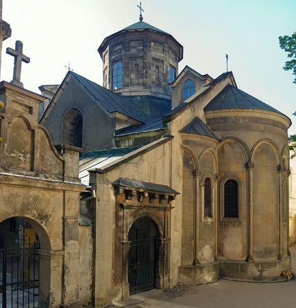 Ancient armenian church in Lviv City (Ukraine), six shots stitch  photo