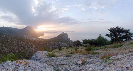 Daybreak coastline landscape of Novyj Svit reserve (Crimea, Ukraine). Original of this composite picture have 30 megapixel. Stock Photo - 1195195