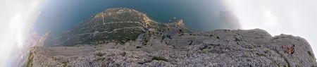 Five shots 180 degrees panorama from top of rock in vertical down direction photo