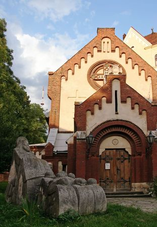 St. John Baptist church and  sculpture group in Lviv-City centre (Ukraine) photo
