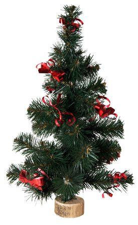 Small artificial green Christmas tree on white