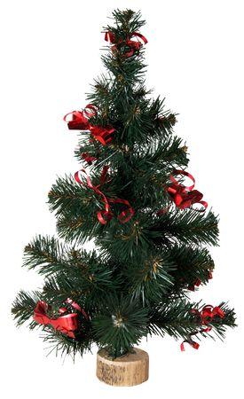 Kleine kunstmatige groene kerstboom op wit