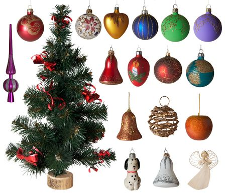 bolls: Big cristmas toys set with small artificial green Christmas tree, top, bolls, figures (isolated on white)