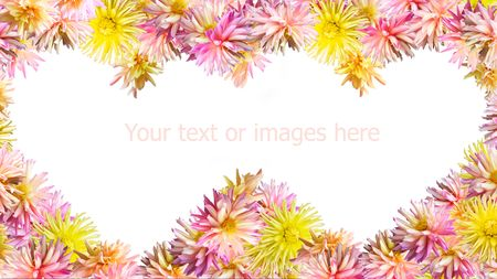 georgina: Pink-yellow Dahlia flowers set mould two heart shapes frame (isolated on white, wide monitors side proportions)