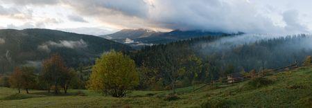 Misty daybreak in autumn Carpathian mountain, Ukraine. Eight shots stitch image. Stock Photo - 2558191