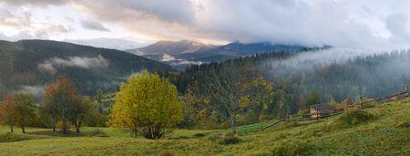 carpathian: Misty daybreak in autumn Carpathian mountain, Ukraine. Eight shots stitch image.