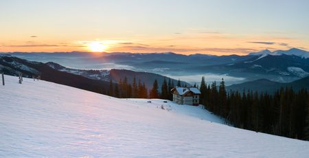Mountain ridge sunrise panorama view  (Drahobrat Ski Resort, Yasenja village, Zacarpatsjka Region, Carpathian Mts, Ukraine). Seven shots stitch image. photo
