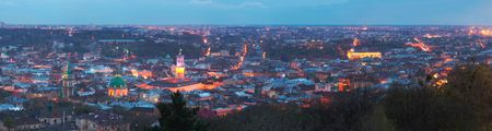 Lvov-City (Ukraine) panorama view from High Castle Hill.  Seven shots composite picture. photo