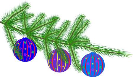 fir twig: Fir twig with christmas tree toys (vector illustration)