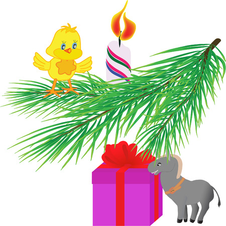 Christmas tree twig and holiday gifts under fir (vector illustration)  Vector