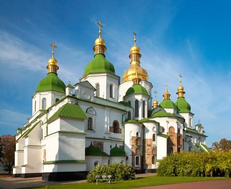 Ochtend St. Sophia kathedraal kerk gebouw van de weergave. Kiev-stadscentrum, Oekraïne.