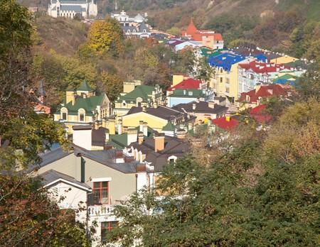 locality: View from Pejzaghna Aleja to new-built quarter in Honchari Locality. Kiev-City centre, Ukraine.