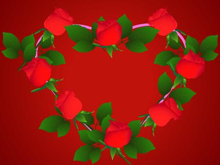 Heart of red rose flower on purple background (vector illustration) Vector