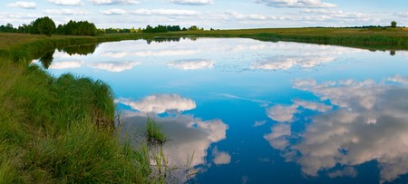 rushy: Summer rushy lake panorama view with clouds reflections. Four shots composite picture.